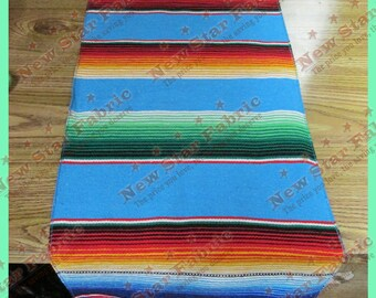 "Serape Table Runner - Mexican Table Runner - Saltillo Serape - For Wedding & Parties 13"" X 77"" Blue"