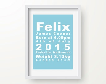Custom Birth Print, Personalised Baby Announcement, Nursery Art, New Parents