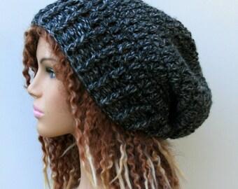 Chunky slouchy beanie hat, smoke gray Slouchy Beanie, woman beanie, womens grey heather slouch beanie, slouchy hat, winter hat, warm beanie