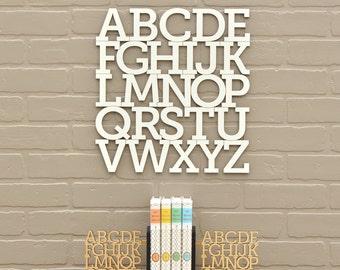 Wood Alphabet Letter White Modern Typography Nursery Wall Decor