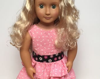 Pink ruffled dress with lined bodice for 18 inch dolls