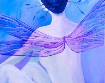 """Transparency original oil on stretched canvas painting 30x24"""" by Katie Lennon Faerie fairy Faery blue jay feathers dragonfly wings purple"""