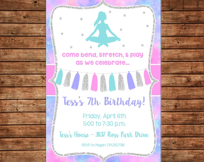 Girl Invitation Yoga Pilates Watercolor Glitter Birthday Party - Can personalize colors /wording - Printable File or Printed Cards