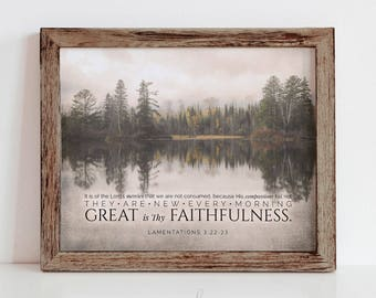 Great is Thy Faithfulness - New Every Morning - 8x10 Scripture Printable Wall Art Decor Sign - Lamentations 3:22-23 - INSTANT DOWNLOAD