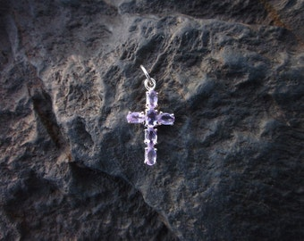 Amethyst & Sterling Silver Cross Pendant - #315
