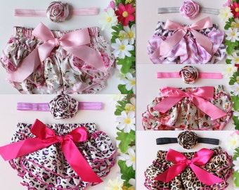 Baby Floral Bloomers Headband Set Nappy Cover Pants Baby Hair Band Newborn to 1 Year Photo Prop