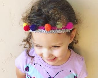 Colorful Pom pom headband