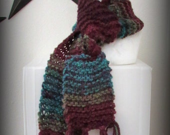 scarf - knit scarf - hand knit scarf - hand made scarf - acrylic knit scarf - burgundy knit scarf - turquoise knit scarf - soft knit scarf
