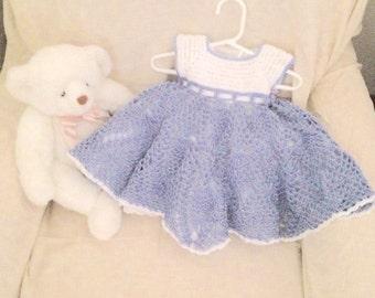 Blue Baby Dress, New Baby Dress, Blue Dress, Blue & White Baby Dress, Blue Baby Party Dress, Dressy Blue Dress, Special Ocassion Baby Dress
