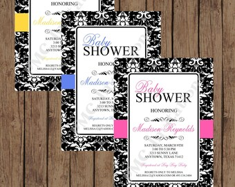 Black and White Damask Baby Shower Invitation - Pink, Blue, Yellow -  1.00 each with envelope