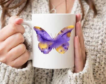 Butterfly Mug - Butterfly Lover Gift - Colorful Butterfly Watercolor Art Mug - Butterfly Coffee Mug - Unique Butterfly Gifts