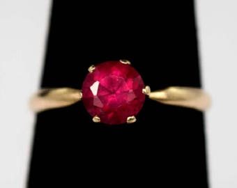 Beautiful Antique 14K Gold Ring with Vivid Round-cut Ruby, Size 5.5