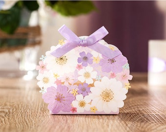 Flower Party Favor Box. Wedding. Purple. Gold. Spring. Candy. Gift. Birthday.