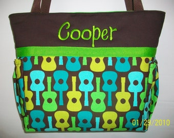 Groovy GUITARS ...  Blue Green Personalized DIAPER Bag ...  TOTE ...  Bottle Pockets