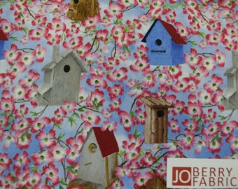 Bird Houses and Pink Blossoms from the Birds of a Feather Collection by Linda Picken for Blank Quilting.  Quilt or Craft Fabric.