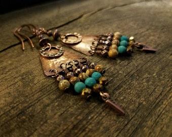 Rustic Copper Chandelier Earrings, 3 1/4 inches, Boho Earrings, Gypsy Earrings, Handmade Earrings