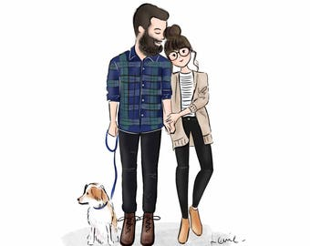 Custom Couple Portrait, Custom Couple Illustration, Cartoon/ Doodle Drawing (Digital)