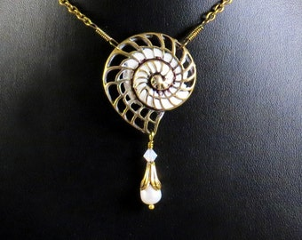 Time Shell Steampunk Necklace - Steampunk Vintage Watch Movement Ammonite Shell Necklace - Nautilus Necklace - Two Sided Ammonite Necklace