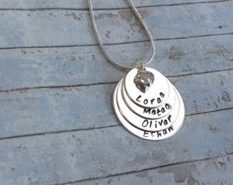 Silver Mum of four stacked discs personalised chain