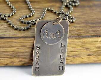 Gift for Dad, Personalized Gift for Dad, Birthday Gift for Dad, Hand Stamped Mens Dog Tag Necklace, Mens Personalized Necklace, Mens Jewelry