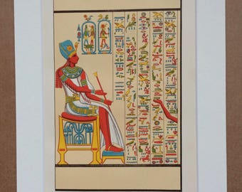 1891 Ancient Egypt Hieroglyphs Original Antique Lithograph - Decorative Art - wall decor - Office Decor - Classics - Available Framed
