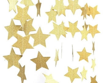 Gold Glitter Star Garland, Star Garland, Star Decorations, Star Decor, Twinkle Twinkle Little Star How We Wonder What You Are, 1st Birthday