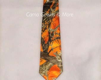 Orange Mens Tie, Orange Camo, Mens Camo Tie
