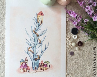 """Submerged houses - Tree house - Watercolour illustration, from the """"Little houses"""" series, by Elisa Ansuini"""