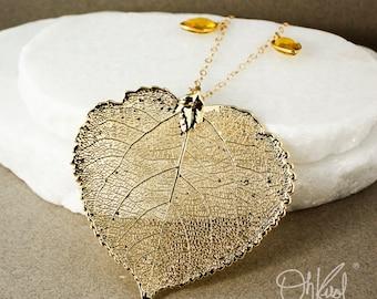 Gold Dipped Aspen Leaf Necklace – Citrine Quartz, Aqua Chalcedony, Green Chrysoprase Chain
