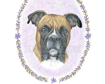 Boxer Dog Art Print from Original Drawing , Free Personalization , Wall Decor , 8 1/2 x 11 or 8 x 10