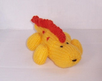 Yellow Dinosaur , Handmade Knitted Toy,  Stuffed Toy, Knitted toy, Hand knitted Dinosaur toy
