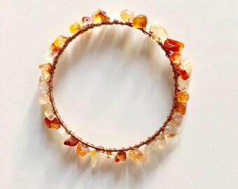 Wire wrapped bracelet | Wire wrapped gemstone | Citrine Bracelet | Gemstone Bracelet | Copper wire | Birthstones jewellery | 22cm