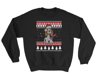 Cute Knitted Basset Hound Graphic Ugly Christmas Sweater Funny Dog Gift