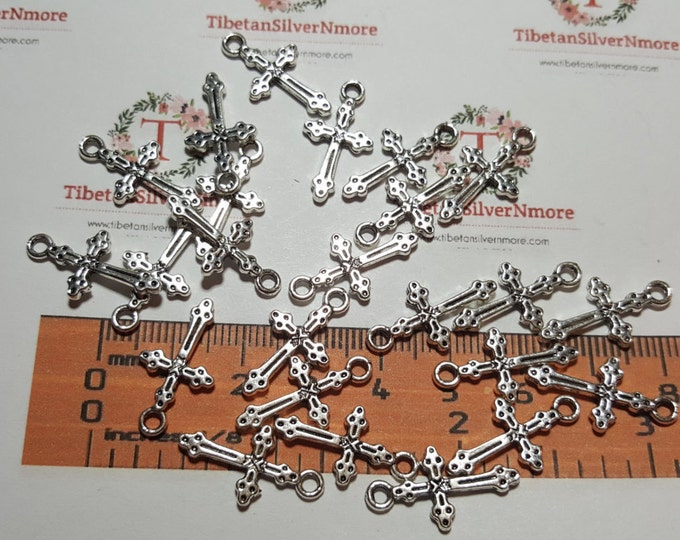 36 pcs per pack 21x12mm 1.5mm Small Cross Charm in Silver finish Lead free Pewter