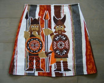 Linen teatowel appliqué skirt, A-line skirt, Ancient Britons, fully lined, upcycle, orange brown white grey, size Medium