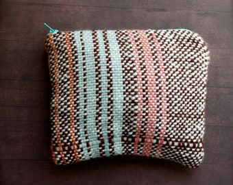 Kinship - folk style rustic woven zip purse pouch - Handwoven and Lined Zipper Clutch - Moth and Rust Handmade in Kansas, USA