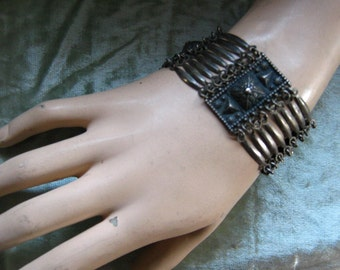 Old Silver Wide Bracelet Mexico Intricate Antique Design
