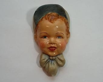 Vintage Chalkware Plaque, Wall Decoration, Baby Boy? in Bonnet