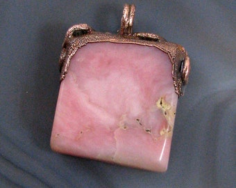 Pink Opal Pendant - natural stone, copper bail, electroformed, small, light pink, square, dainty