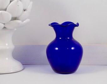 Handblown Fluted Vase,cobalt blue,glass,fluted vase,handblown glass,blue vase,vases,vintage blue glass,ruffled edge,blue,mid century