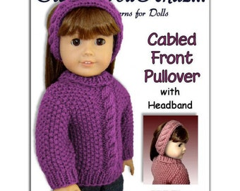 pdf 18 inch doll knitting pattern. Fits American Girl Doll. Sweater Instant Download 003