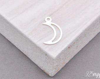 925 Sterling Silver moon, moon pendant, small moon, moon charms, moon jewelry, padlock, blank moon, moon element, Little Star,