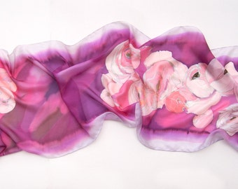Silk Scarf. Ranunculus Bouquet Scarf. Hand painted Scarf. Cerise Spring scarves. Large Purple scarf with peach flowers Made to order