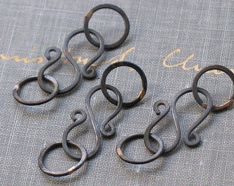 oxidized copper clasps- handmade copper s hook clasp, solid copper clasp, solid copper findings, metalwork clasps, copper clasp sets