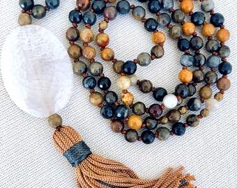 Mala Tassel Necklace, Agate gemstones mala, Yoga Knotted Necklace, Meditation necklace, 108 Mala Beads, Boho Long necklace, Spiritual mala