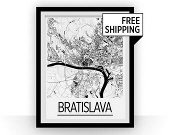 Bratislava Map Poster - Slovakia Map Print - Art Deco Series