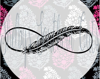 Infinity Feather SVG EPS DXF file digital