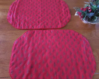 Vintage Red Christmas Placemats - Set of 2 - Quilted Placemats - Gold Accents - Two Red Placemats
