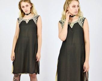 Vintage 90's Black Chiffon Ethnic Dress
