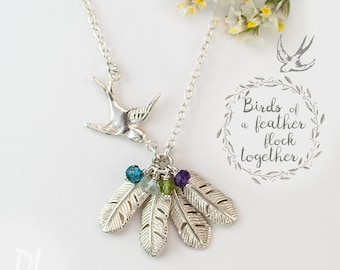 Customizable Mama Bird Necklace, Birthstone Necklace, Sparrow Feather Necklace, Gift for Mom, Gift for Grandma, Unique Jewelry, Gift for Her